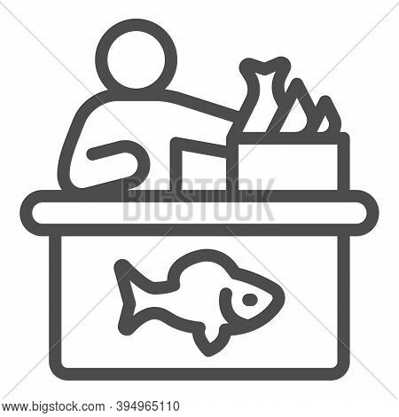 Seller In Fish Store Line Icon, Fishing Concept, Fish Market With Seller And Seafood Sign On White B