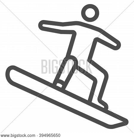 Freestyle Snowboarding Line Icon, Winter Sport Concept, Snowboarder Jumping Sign On White Background