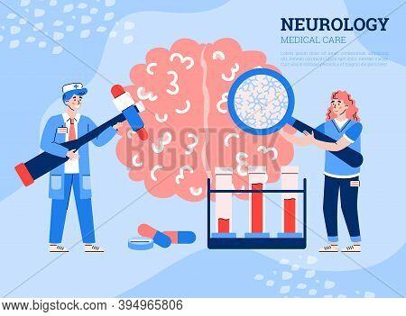 Neurology Medical Care Banner With Tiny Doctors Examining Human Brain, Flat Cartoon Vector Illustrat