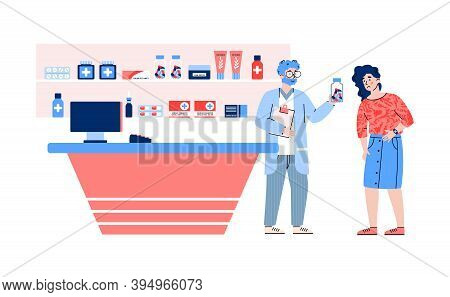Woman With Pain In Drugstore Getting Medications, Flat Vector Illustration Isolated On White Backgro