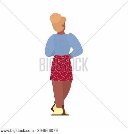 Young Woman In Mini Skirt Standing With Her Back, Cartoon Flat Vector Illustration Isolated On White
