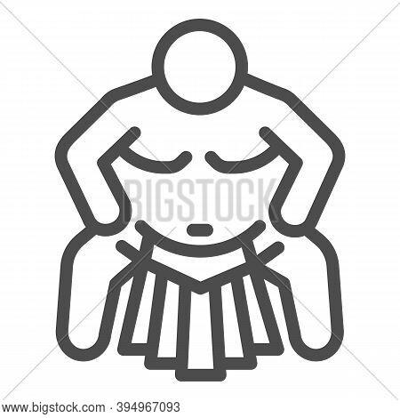 Sumo Sportsman Line Icon, Self Defense Concept, Sumo Wrestling Sign On White Background, Martial Art