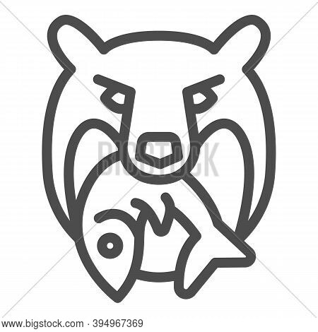 Bear Head With Fish Line Icon, Marine Concept, Bear And Fish Company Logo Sign On White Background,