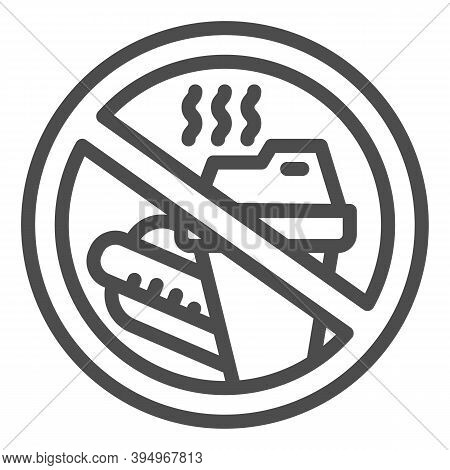 Prohibition Bring Food Line Icon, Aquapark Concept, Do Not Bring Food Into The Area Sign On White Ba