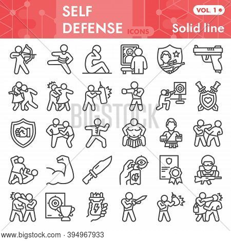 Self Defense Line Icon Set, Defense Against Attacker Symbols Collection Or Sketches. Security With A