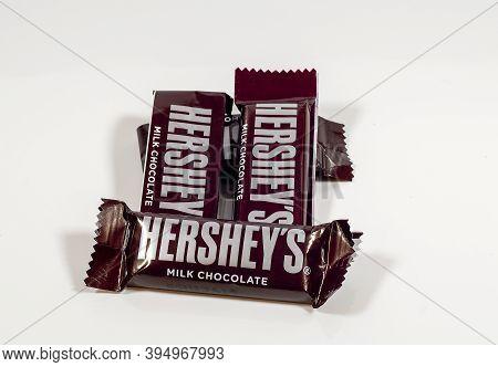 Denver, Colorado - November 13, 20020: Hershey\\\\\\\'s Brand Milk Chocolate Candy Bars On A White B