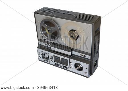 Analog Vintage Stereo Reel Tape Recorder Tape Recorder With Reels Isolated On White Background.