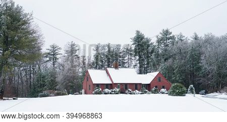 The Residential House Exterior After Snow Storm