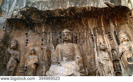 Longmen Grottoes With Buddha's Figures Are Starting With The Northern Wei Dynasty In 493 Ad. It Is O