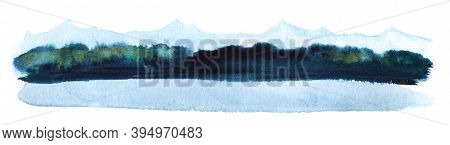 Abstract Watercolor Background. Stripe Of Landscape Of Vague Silhouettes Of Blue Mountains, Blurry D