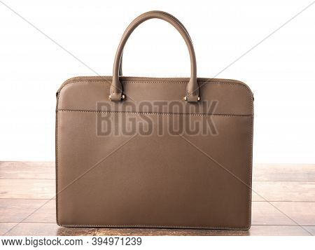 Brown Color Briefcase Isolated On White With Shadow. Brown Business Leather Bag, Leather Women Casua