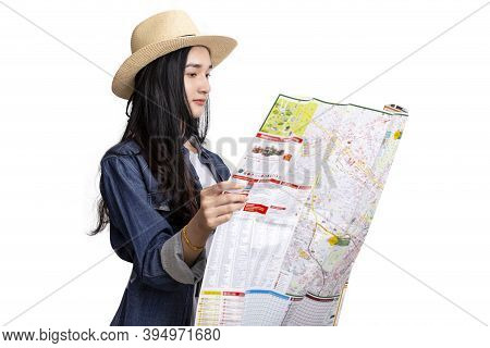 Beautiful Young Asian Woman Traveler With Map On White Background