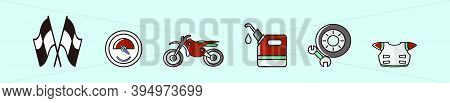 Set Of Motocross Equipment With Helmet Cartoon Icon Design Template With Various Models. Modern Vect