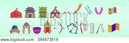 Set Of Country Mongolia Cartoon Icon Design Template With Various Models. Modern Vector Illustration