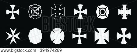 Set Of Maltese Cross Cartoon Icon Design Template With Various Models. Modern Vector Illustration Is