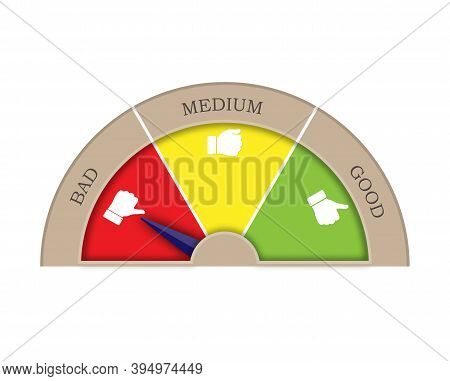 Satisfaction Rating From Three Sectors-good, Medium, Bad. The Arrow In The Bad Sector. Graphic Image