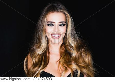 Dental Concept - Whiten Teeth, Smile Woman. Whitening Teeth. Dental Or Dent And Stomatology Concept