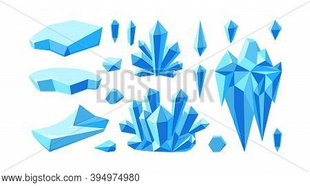 Iceberg With Crystals For Arctic Landscapes. Set Of Crystal Gems And Glaciers For Game Design. Vecto