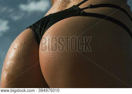 Buttocks Ass Close-up. Sexy Girl With Big Bum. Sexy Buttocks. Sexy Butt. Perfect Woman In A Sexy Lin