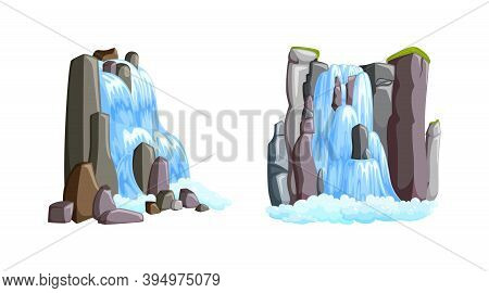 Waterfall Cascades In Mountains With Front And Side Views. Waterfalls Isolated In White Background.