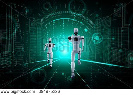 Running Robot Humanoid Showing Fast Movement And Vital Energy In Concept Of Future Innovation Develo
