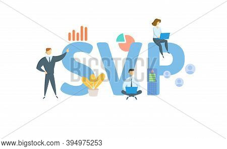 Svp, Senior Vice President. Concept With Keywords, People And Icons. Flat Vector Illustration. Isola