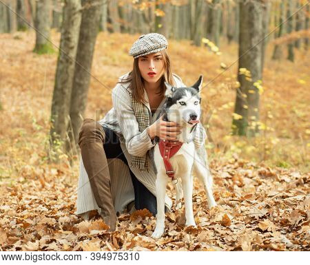 Girl Pretty Stylish Woman Walking With Husky Dog Autumn Forest. Pedigree Dog Concept. Best Friends.