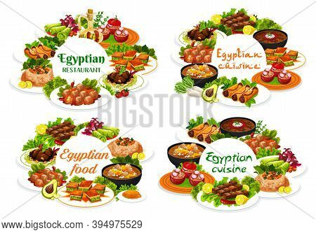 Egyptian Cuisine Restaurant Vector Round Banners. Egyptian Dishes With Stuffed Vegetables And Rice,