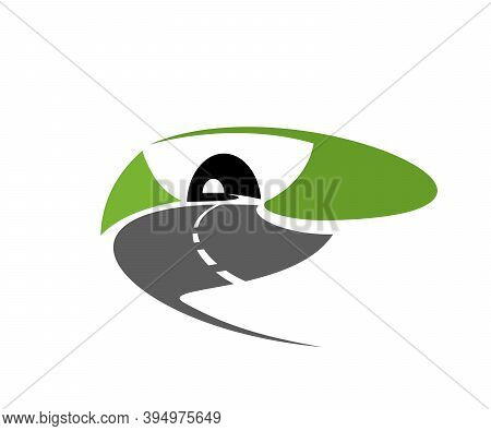 Asphalt Road Or Freeway With Tunnel Icon. Speed Highway, Motorway Or Mountain Path Going In Tunnel I