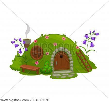 Dwarf Or Gnome House, Fairytale Dugout Hut Cartoon Vector. Fairy Or Magic Creature Home In Hill, Cov