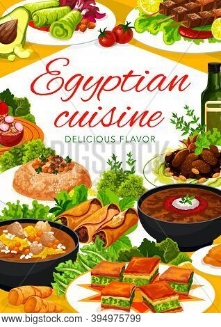 Egyptian Food Dishes Vector Banner. Lentil Soup And Baklava, Lamb With Prunes, Trotter Soup And Cous