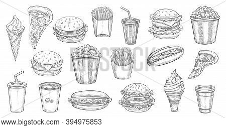 Sketch Fast Food Meals Isolated Vector Icons Ice Cream In Waffle Cone, Soda Drink And Burger With Fr