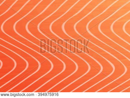 Salmon Trout Fish Meat Vector Texture Background. Orange Textured Fillet With White Zigzag Streaks.