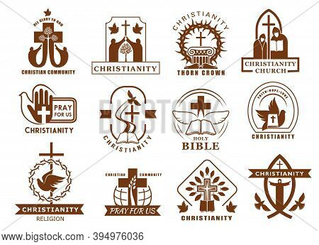 Christianity Religion Icons, Catholicism Or Orthodox Religious Symbols, Vector. Christian Religious