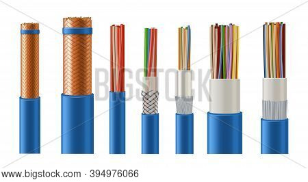 Electric And Data Stranded Cables With Copper Conductor, Metal And Plastic Insulation 3d Realistic V
