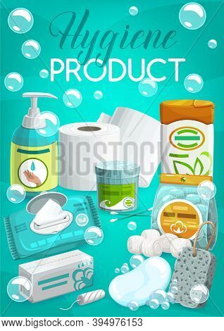 Personal Hygiene Products And Toiletries Banner. Liquid Soap Or Hand Sanitizer, Wipe Napkins, Tampon