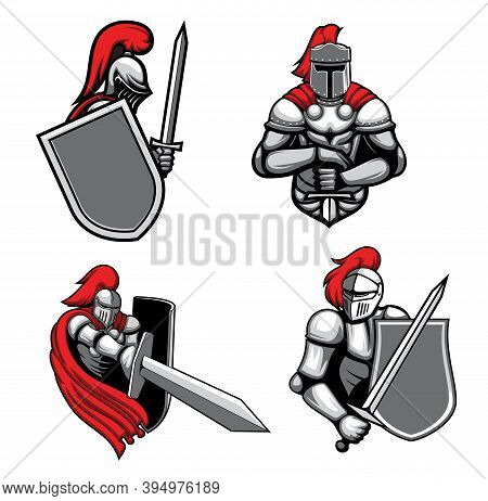 Medieval Knights With Sword And Shield Mascots. Knight In Heavy Armor, Wearing Red Cape, Barbute And