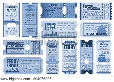 Tickets To Ferry Boat, Ship Cruise And Vacation Liner Passes, Vector Cards. Sea Lines And Marine Tou