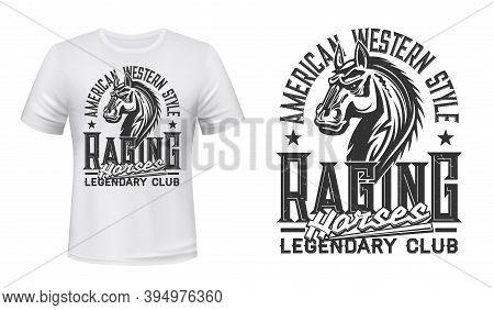 American Horse Race Club Stallion T-shirt Vector Print. Mustang Stallion Horse Head Engraved Illustr