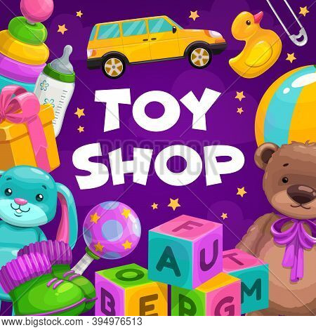Toy Shop Goods. Gifts For Children, Toddler And Infant Child Educational And Soft Plush Toys. Abc Co