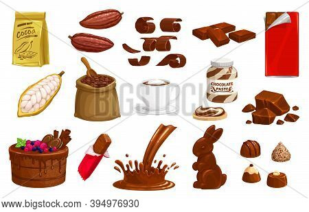 Chocolate, Cocoa Vector Choco Production Bars, Bunny Sweet Dessert And Splashes. Truffle, Candies An
