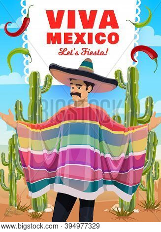 Mexican Man In Sombrero And Poncho, Vector Viva Mexico Greeting Card. Fiesta Party Mariachi Musician