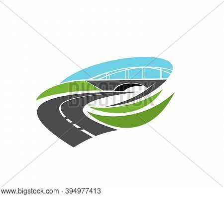 Roadway Turn, Freeway Under Bridge Icon. Highway Level Junction, Modern Motorway Intersection With T