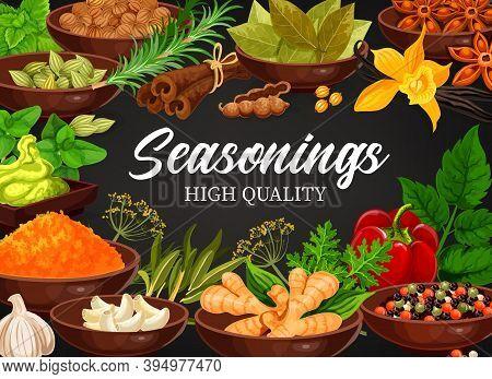 Seasonings Anise Star And Vanilla, Ginger And Coriander, Cardamon. Mint, Bay Leaf, Garlic And Rosema