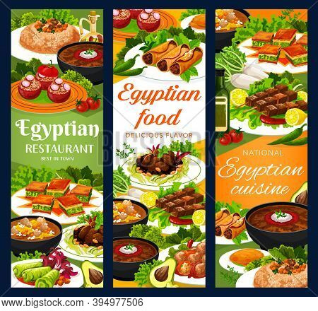 Egyptian Cuisine Restaurant Meals Vector Banners. Sardine Patties, Stuffed Tomatoes, Cabbage And Rol