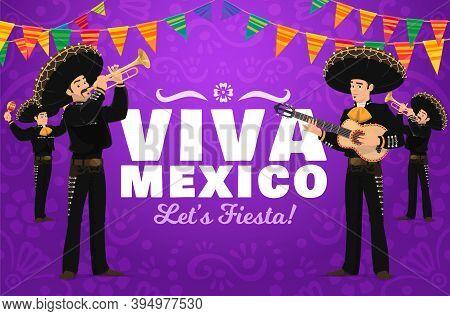 Viva Mexico Fiesta Vector Design With Mariachi Cartoon Characters. Carnival Musicians In Sombrero Ha