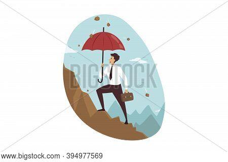 Protection, Goal Achievement, Success, Business Concept. Businessman Boss Clerk Manager Leader Chara