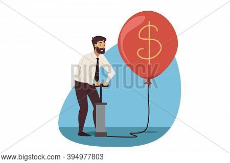 Business, Profit, Currency Mining Concept. Young Businessman Clerk Manager Cartoon Character Pumping