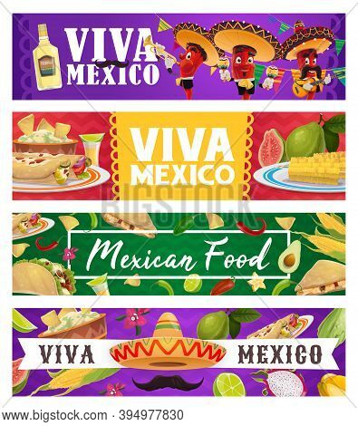 Mexican Holiday Food And Chilli Musician, Viva Mexico Vector Banners. Red Pepper Mariachi Cartoon Ch