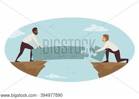 Partnership, Connection, Business Concept. Team Of African American Businessmen Managers Partners As